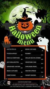 Halloween Menu Video Digital Display Portrait template