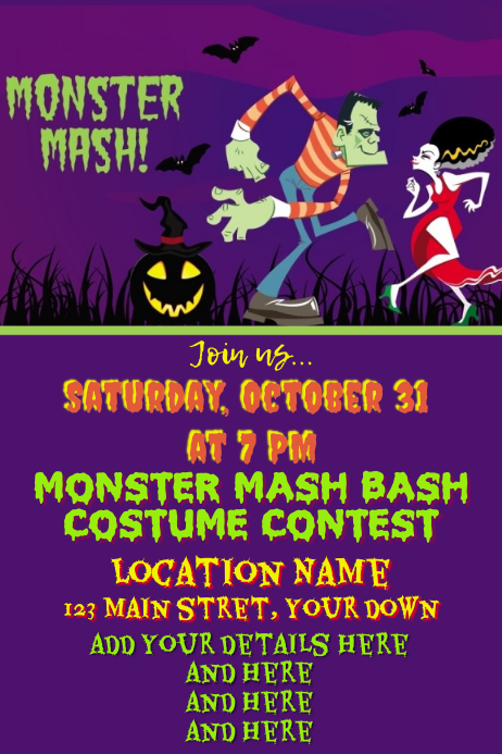 Halloween Monster Mash 海报 template