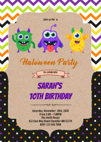 Halloween monster party invitation