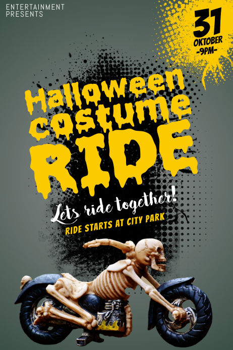 halloween motorcycle ride flyer template postermywall