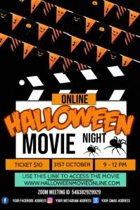 halloween movie night, virtual movie night Poster template