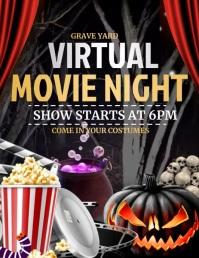 halloween movie night ,cinema Flyer (format US Letter) template