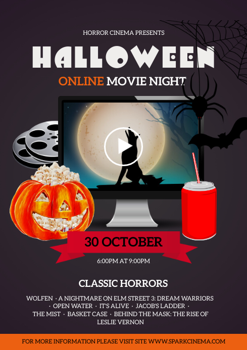 Halloween Movie Night Poster A4 template