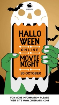 Halloween movie night video História do Instagram template