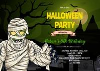 Halloween mummy invitation A6 template