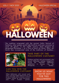 Halloween Newsletter Pumpkins A4 template