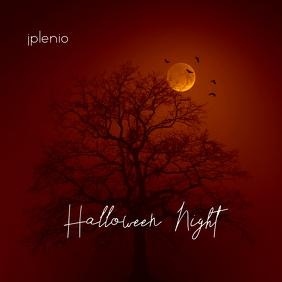 Halloween Night Moon Tree Mixtape Cover Music Albumcover template