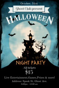 halloween night party poster template