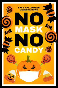 Halloween No Mask Sign Template Cartel de 4 × 6 pulg.