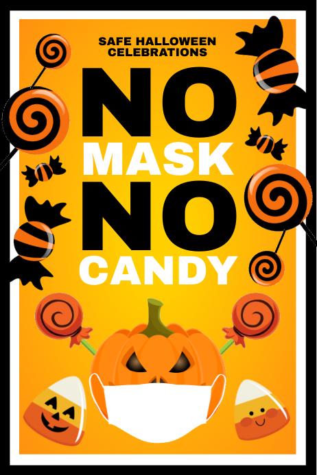 Halloween No Mask Sign Template Banner 4' × 6'