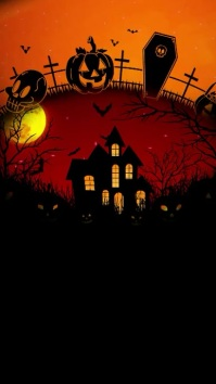 HALLOWEEN OR PARTY halloween video, Pantalla Digital (9:16) template