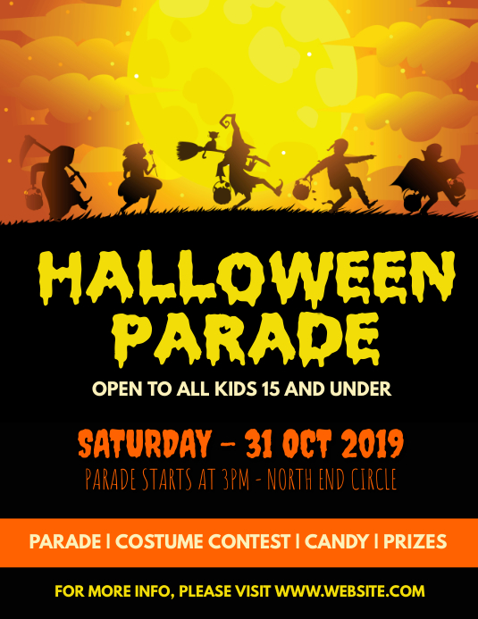 Halloween parade ใบปลิว (US Letter) template