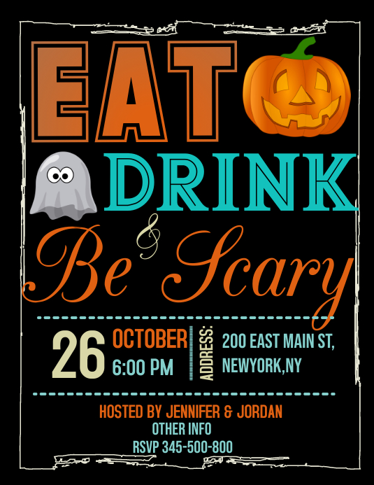 Halloween party, Halloween bash Volante (Carta US) template