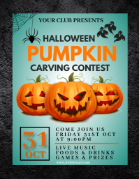 Halloween party,Halloween costume contest Folheto (US Letter) template