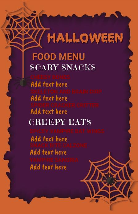 Halloween party,Halloween menu,party 海报 template