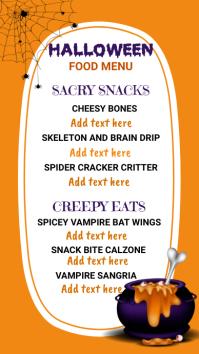 Halloween party,Halloween menu Pantalla Digital (9:16) template