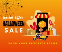 Halloween party,Halloween sale Large Rectangle template