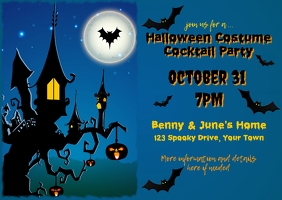 Halloween Party Adults Postcard Invitation Cartolina template