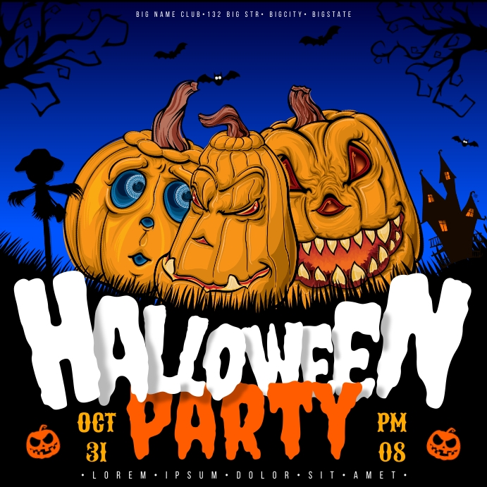HALLOWEEN PARTY BANNER Persegi (1:1) template