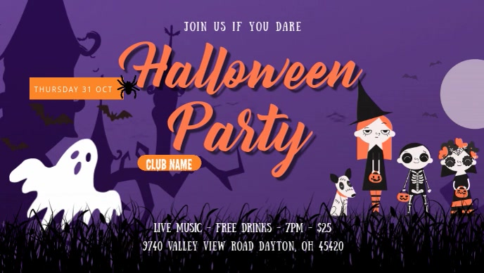 Halloween Party Banner Digital Display Facebook Cover Video (16:9) template