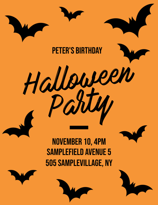 Halloween Party Birthday Flyer