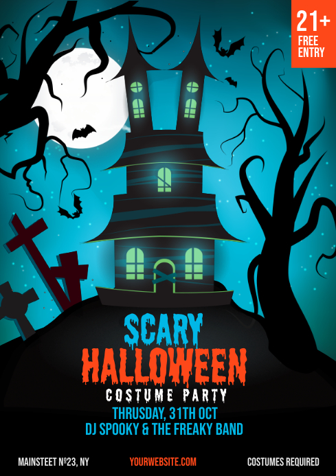 Halloween Party Club Invitation Templat A4 template