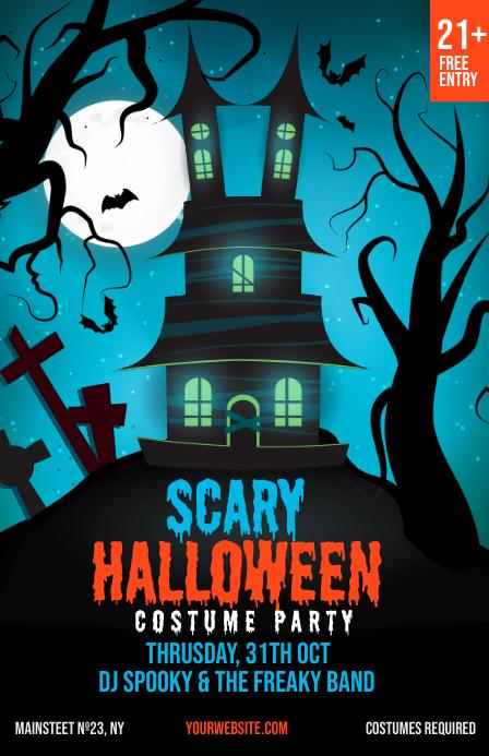 Halloween Party Club Invitation Templat Tabloid template