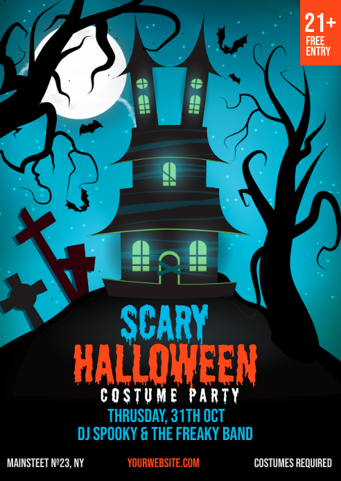 Halloween Party Club Invitation Templat A6 template