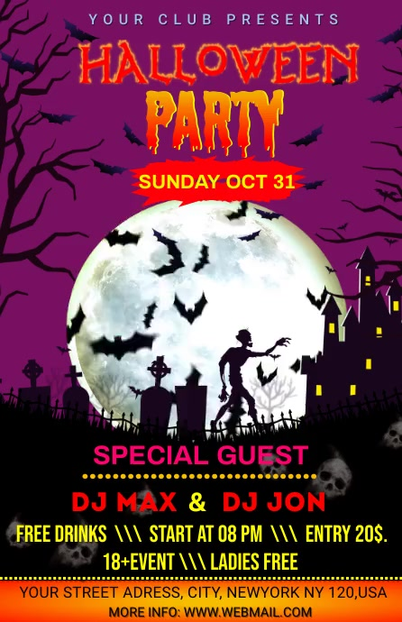 HALLOWEEN PARTY Half Page Wide template