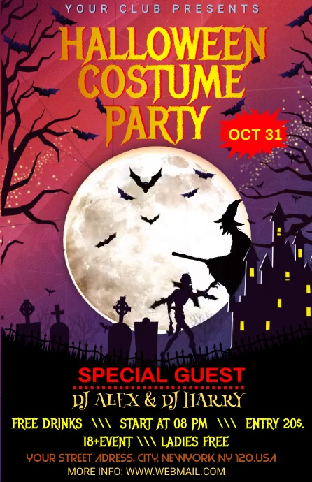 Halloween party Media Página Ancho template
