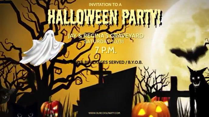 HALLOWEEN PARTY INVITE INVITE Digitalt display (16:9) template