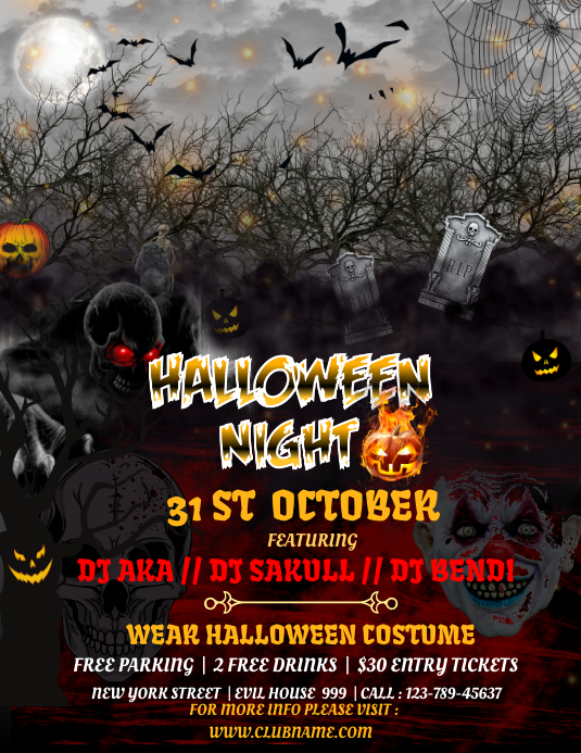 Halloween Party Flyer (format US Letter) template