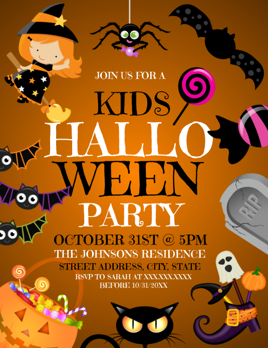 Halloween Party Folheto (US Letter) template