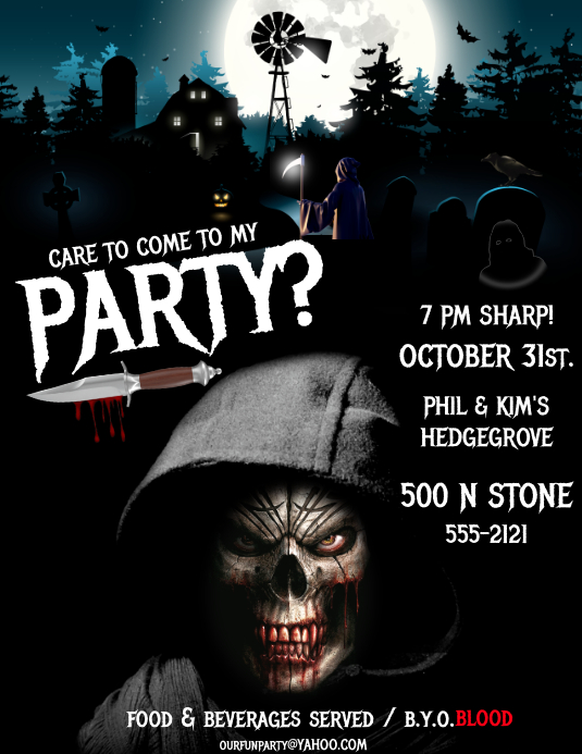 HALLOWEEN PARTY INVITE Flyer (format US Letter) template