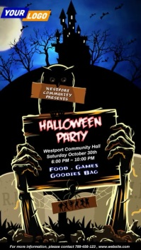 Halloween Party Digital Board Video Цифровой дисплей (9 : 16) template