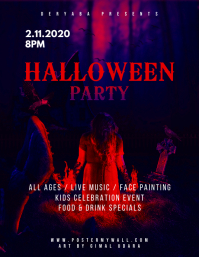 Halloween Party Event Celebration Flyer Pamflet (Letter AS) template