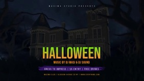 Halloween Party Event Flyer Vidéo de couverture Facebook (16:9) template