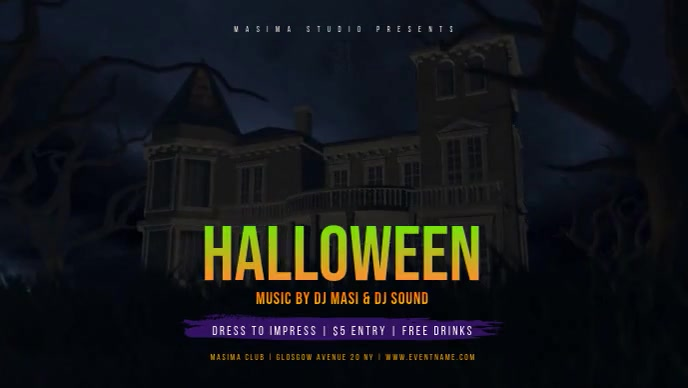 Halloween Party Event Flyer Facebook-omslagvideo (16: 9) template