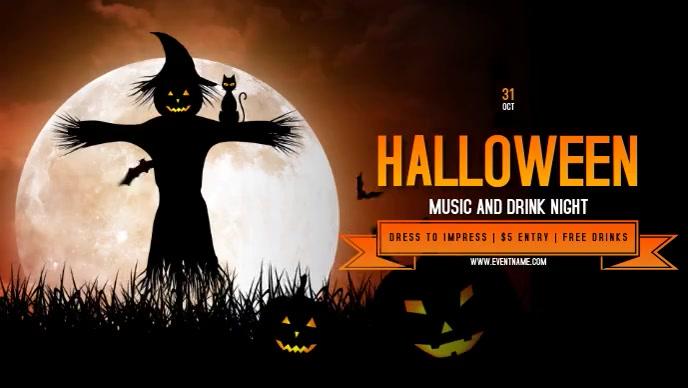 Halloween Party Event Flyer Video Sampul Facebook (16:9) template