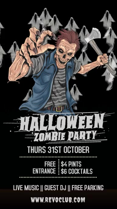 Halloween Party Event Template Pantalla Digital (9:16)