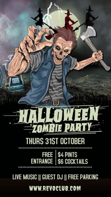Halloween Party Event Template Ecrã digital (9:16)