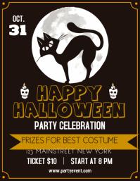 Halloween party flat flyer template