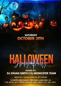 Halloween Party Flyer Design A4 template