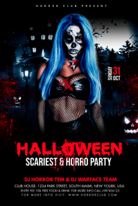 Halloween Party Flyer Banner 4' × 6' template
