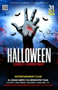 Halloween Party Flyer Halbe Seite breit template