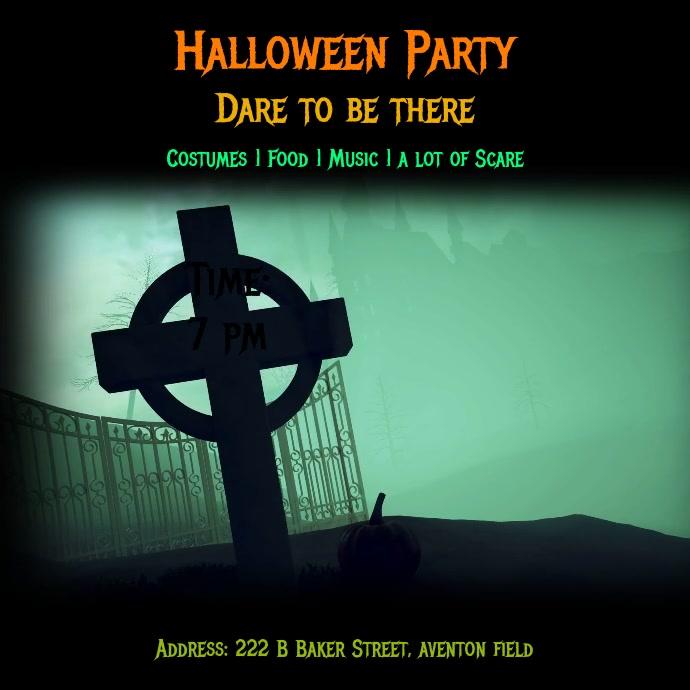 Halloween Party Flyer สี่เหลี่ยมจัตุรัส (1:1) template