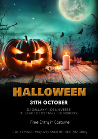 halloween Party flyer Poster Invitation Event A4 template