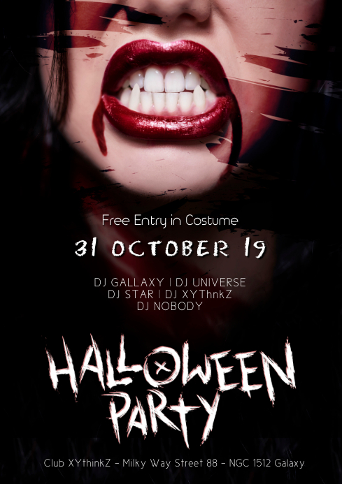 Halloween party Flyer Template Advert event A4
