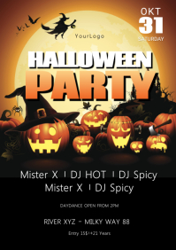Halloween party Flyer Template Advert Night A4