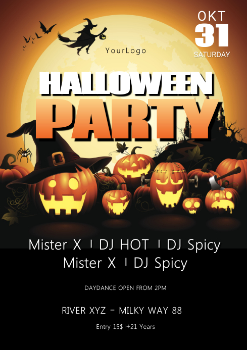 Halloween party Flyer Template Advert Night